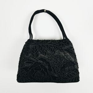 Handbags - Vintage black floral beaded handbag